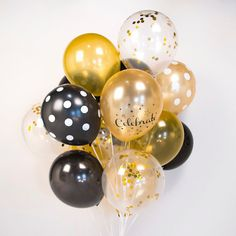 Celebration confetti gold & black balloons set by TokyoSaturday