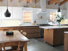 white + wood kitchen