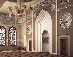 El Damam West Mosque Interior Design on Behance Mosque Architecture, Interior Architecture, Interior Design, Gothic Architecture, Ancient Architecture, Arabic Design, Beautiful Mosques, Prayer Room, Design Inspiration