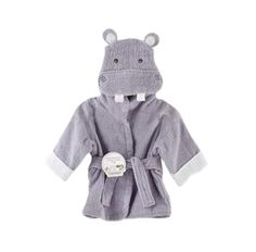 Grey Hippo Hooded Baby Bath Robe - Little TroubleMakers