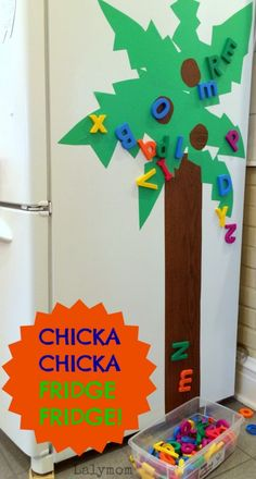 Make a super fun Chicka Chicka Boom Boom Tree on your refrigerator! So much ABC Alphabet Fun!