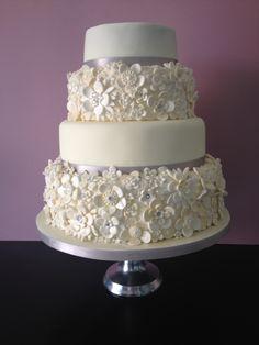 Wedding cake based on friend's lace on wedding dress.
