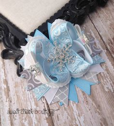 Frozen inspired hairbow girls frozen bow by sweetcheekbowtique, $11.95