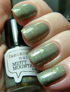 Misty Mountains Nail Polish - sage green with iridescent shimmer and gold glitter on Etsy, $8.75