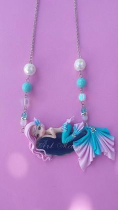 Necklace Mermaid pink in fimo polymer clay by Artmary2 on Etsy