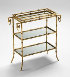 GOLD FAUX BAMBOO TRAY TABLE, 3 Tiers, Mirrored Shelves, HOLLYWOOD REGENCY Glam! bonanza
