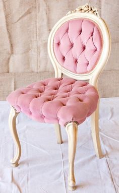pink and gold chair