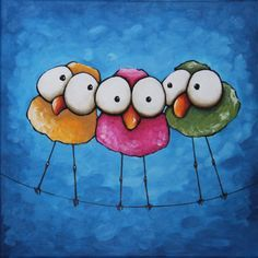 (via Original Fine Art Acrylic painting Lucia Stewart Whimsical bird three sisters Art Fantaisiste, Whimsical Art, Art Plastique, Bird Art, Painting Inspiration, Painted Rocks, Art Lessons, Painting & Drawing, Dot Painting