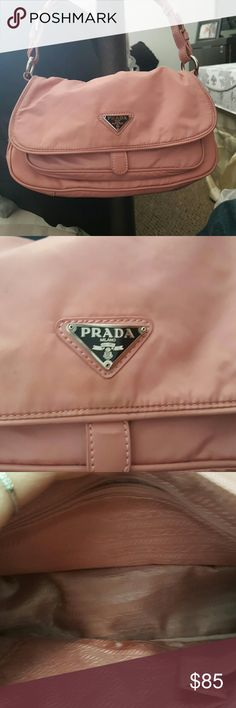 Prada pink shoulder bag Prada pink shoulder bag. Was in storage but will be cleaned upon purchase!! Vinyl fabric for easy cleaning. Purchased from consignment shop a few years back. Please make an offer!! Also open to trades!!! Great find, perfect size!! Prada Bags Shoulder Bags