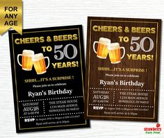 Birthday Invitation for Men Cheers and Beers to 50 years Beer Invitation Surprise Birthday Custom Printable Invitation - Geburtstag Surprise 30th Birthday, Surprise Birthday Invitations, 30th Birthday Parties, Birthday Ideas, Birthday Cheers, Men Birthday, Blue Birthday, Birthday Cards, Personalized Invitations