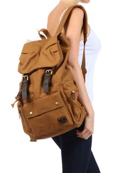 JUST IN! AHMIK CANVAS BACKPACK WITH LEATHER TRIM