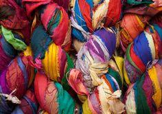Sari Silk Ribbon At the Bahamas Multi Color Bulky Yarn    I just love silk ribbon! It can be such brilliantly beautiful colors!
