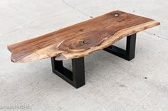Acero Steel Base Coffee Table live edge sleek sustainable furniture reclaimed wood custom ooak industrial steampunk customizable. $950.00, via Etsy. - bench similar?