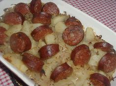 Sauerkraut and Kielbasa. I add about a cup sour cream. Makes the juices from the sauerkraut nice and creamy Sourkraut And Sausage, Sauerkraut And Kielbasa Recipe, Kielbasa And Potatoes, Sausage And Potato Bake, Potato Casserole, Casserole Dishes, Casserole Recipes, Crockpot Recipes, Cooking Recipes
