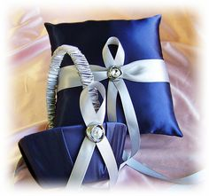 navy and silver wedding theme | Navy Blue And Silver Gray Wedding Flower Girl Basket And Ring Pillow ...
