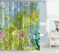 Abstract shower curtain, contemporary bathroom decor, pink, green and aqua shower curtain, art showe Dream Garden, Home And Garden, Green Shower Curtains, Main Colors, Curtain Rods, Abstract Art, Contemporary, Green Aqua, Teal