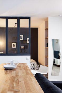 apartment in paris Bedroom Divider, Home Living Room, Interior Columns, Small Spaces, Apartment, Home Decor, Home Deco, Interior Design Living Room, Living Design