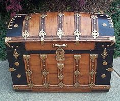 Fully Restored All Wood Dome Top Antique Trunk For Sale w dated hardware SEPT 1887, Letter S on stamped clamps, Victorian lithographs