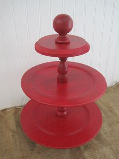 3 Tier Cupcake Stand - Distressed Red - Vintage Inspired - Wedding - Tea Party - Buffet Table - Desert - Rustic - Country - Shabby Chic