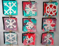 Tape snowflakes to the paper then let the children paint over the whole paper!  Peel the tape off and have beautiful snowflakes!