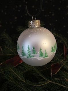 Handpainted Glass Christmas Ornament by ChristysCornerShop on Etsy