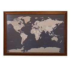 Black ice world push pin travel map with pins 24x36 black frame earth toned world push pin travel map with brown frame and pins 24 x 36 push gumiabroncs Image collections