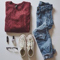 Red Long Sleeve Cable Knit Loose Sweater with a Boyfriend Jeans and white converse