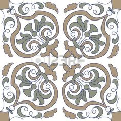 motif renaissance: Modèle vectoriel transparente avec des motifs floraux sur…