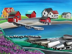 """""""Dreaming of Twillingate"""" / The Grumpy Goat Gallery Newfoundland Canada, Newfoundland And Labrador, Maud Lewis, Bright Pictures, Man On The Moon, Miniature Houses, Learn To Paint, House Painting, East Coast"""