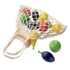 Wooden Play Fruit in a Cotton Net Shopping Bag. So cute! $17.95