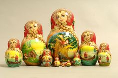 "10 Piece ""Vyatskaya Matryoshka"" Miniature Fairy Tale, number 62982 - 383 Миниатюра  МагСказка"