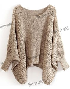 2014 Nova Primavera / Inverno Tops Moda Malha Malhas Plus Size Roupas Femininas Casual Khaki Batwing luva frouxo pulôver 21.55