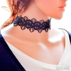 New Black White Lace Choker Necklaces Bracelet Women Fashion Punk Gothic Handmade Neck Collar Jewelry #Affiliate