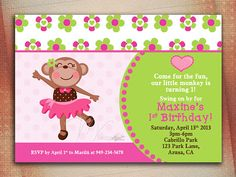 Girls monkey birthday invitation our little by mylilcupcakeco girls monkey birthday invitation our little by mylilcupcakeco emily 1st pinterest monkey birthday monkey and girl monkey birthday filmwisefo