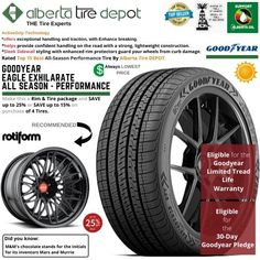 Goodyear EAGLE EXHILARATE All Season Performance Tire 255/45ZR19 XL 104Y Rotiform Wheels Goodyear Eagle, Service Map, Performance Tyres, Wheels, Seasons, Seasons Of The Year