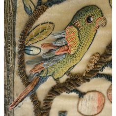 Embroidered Casket, satin panels embroidered with coloured silks, worked with the initials 'E. Embroidery Fabric, Embroidery Stitches, Embroidery Patterns, Textiles, Renaissance, Embroidered Bird, Crochet Wool, Quilt Festival, Beaded Animals