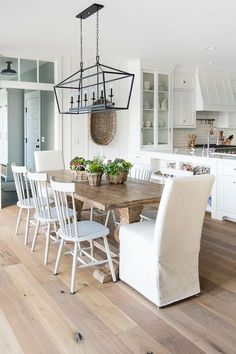 Cabbage Fall Centerpiece. Love the dining room light fixture and subtle modern farmhouse style #diningroom