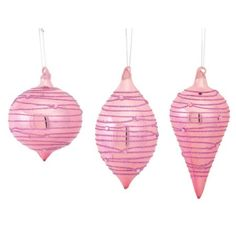 """Club Pack of 12 Pink Glass with Glitter Onion, Diamond and Finial Christmas Ornaments 5""""-7"""""""