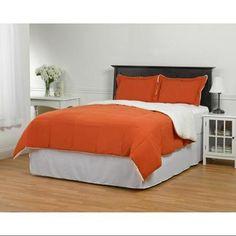 ExceptionalSheets Reversible 3 Piece Sherpa Comforter Set , Full/Queen, Burnt Orange