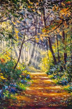 Original hand painted painting SUNNY FOREST by Rybakow Graphic Illustration, Illustrations, Original Paintings For Sale, Back Art, Hand Painting Art, Scene Creator, Landscape Art, Design Bundles, Sunnies