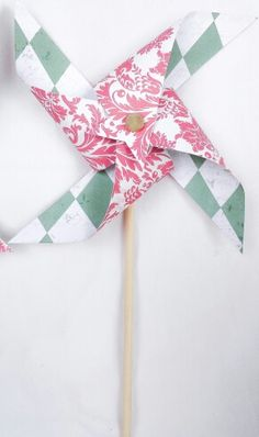 Pinwheels - green argyle, pink floral, birthday party, girl baby shower, tea party, garden, spinning, favors