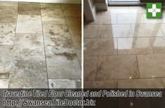 This customer from Swansea was unhappy with the look of her Travertine floor tiles and so decided to call in tile doctor after she had seen pictures of other travertine floor tiles on one of our websites and wanted hers to look the same. The natural brown shades of her own Travertine tiles had become very dark and were looking dull and lifeless in comparison.