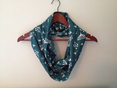 Organic Infinity Scarf / Twigs Print in Teal by LilyAlyssaBoutique, $45.00