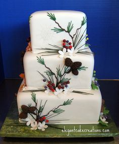 Holly and berries wedding cake  ... #rustic #winter #wedding ... https://itunes.apple.com/us/app/the-gold-wedding-planner/id498112599?ls=1=8 … Tips on how to organise your dream wedding, within your budget ♥