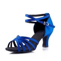 Women's Satin Heels Sandals Latin Ballroom With Ankle Strap Dance Shoes $14!!!!