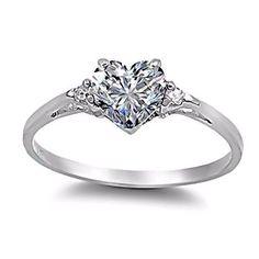 eeeeee Sterling Silver 0.81ct Elegant Heart-cut Russian Ice on Fire Diamond CZ Promise (sizes 4-10.5), 002-3135