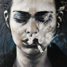 """Saatchi Online Artist: thomas saliot; Oil, Painting """"smoking face""""--the smoke is so exquisitely thick."""