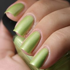 Granny Smith Granny Panties is a warm, yellow-green creme with green and pink shimmer. All nails are 4 coats with top coat