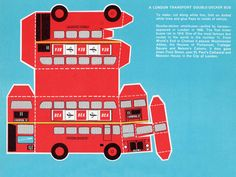 "Old Cut Out London Cards  Build a collection of iconic London vehicles with these vintage postcards, from which you can cut and make a bus, taxi, mail van or train. Each card is in mint condition, and has plenty of room on the back to write a letter to someone special. The graphics are great, with solid, bright colours. 8""x5.5"". Printed in the 60s in Kentish Town, London. Choose your favourite."