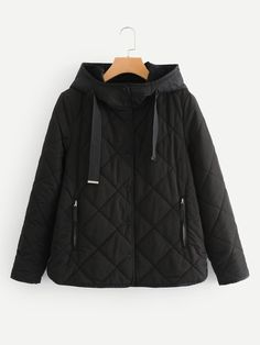 1316bac0433 Drawstring Quilted Hooded Coat -SheIn(Sheinside) Winter Jackets Women